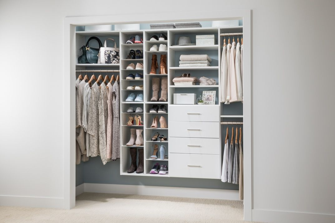 Reach In Closet With Adjustable Shoe Organizer Expand Your Storage Possibilities With Hanging Rods Draw Simple Closet Closet Organizing Systems Closet System