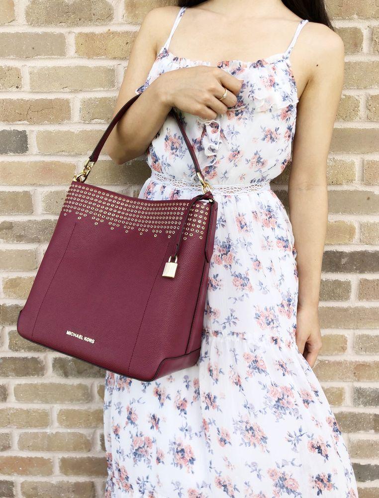 fbcd40492af6 Michael Kors Hayes Large Bucket Shoulder Bag Mulberry Burgundy Ballet Pink   MichaelKors  Hobo