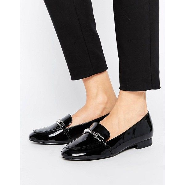 Faith Abi Buckle Flat Shoes (120 BRL) ❤ liked on Polyvore featuring shoes, flats, black, patent leather shoes, flat sole shoes, slip-on shoes, flat pumps and black buckle flats