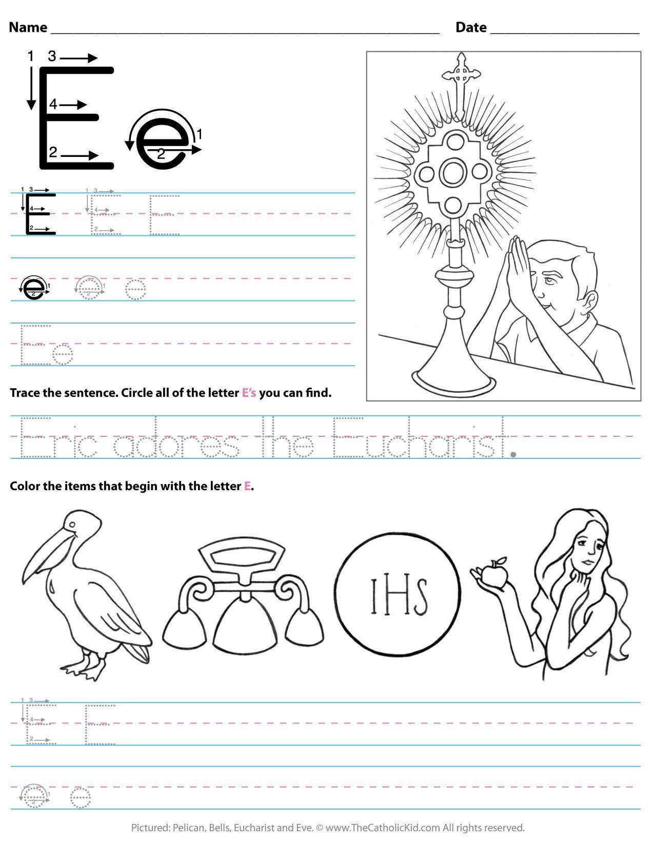 Letter E Worksheet For Kindergarten Catholic Alphabet Letter E Worksheet Preschool In 2020 Letter E Worksheets Alphabet Worksheets Kindergarten Alphabet Coloring Pages