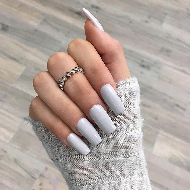 Gray New Polish Is Opi I Cannoli Wear Opi Thefashionbybel Thefashionbybel Long Square Nails Blue Nails Grey Acrylic Nails