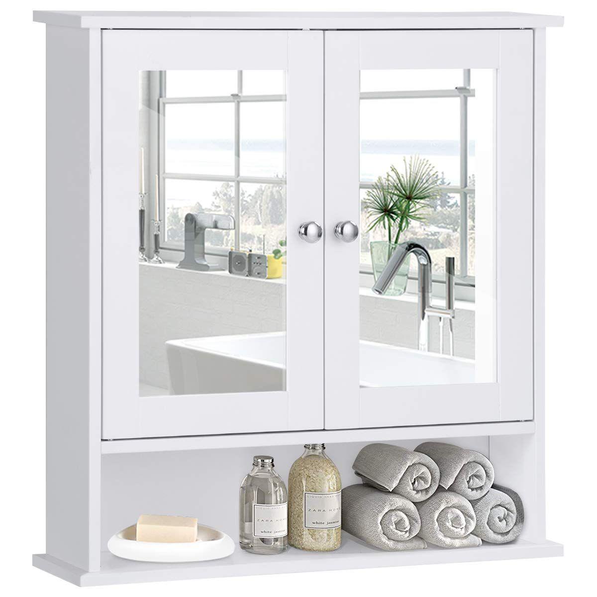 Wall Mount Storage Cabinet With Double Mirror Doors Wood Medicine Cabinet En 2020 Gabinetes Cocina Gabinetes Espejos