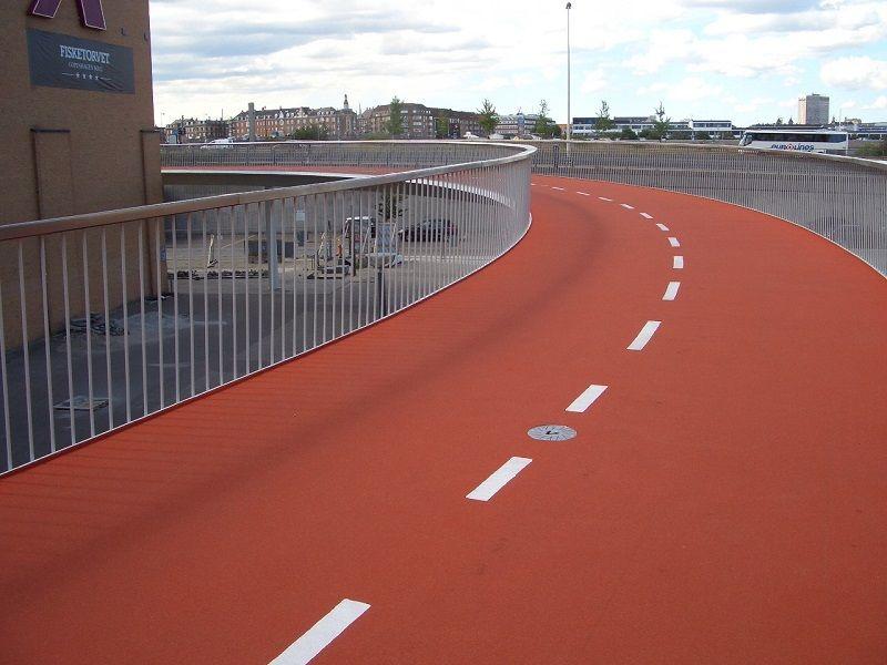 #designmk #architecture #TheBicycleSnake #walkingbridge #bicyclebridge #copenhagen #orangebridge