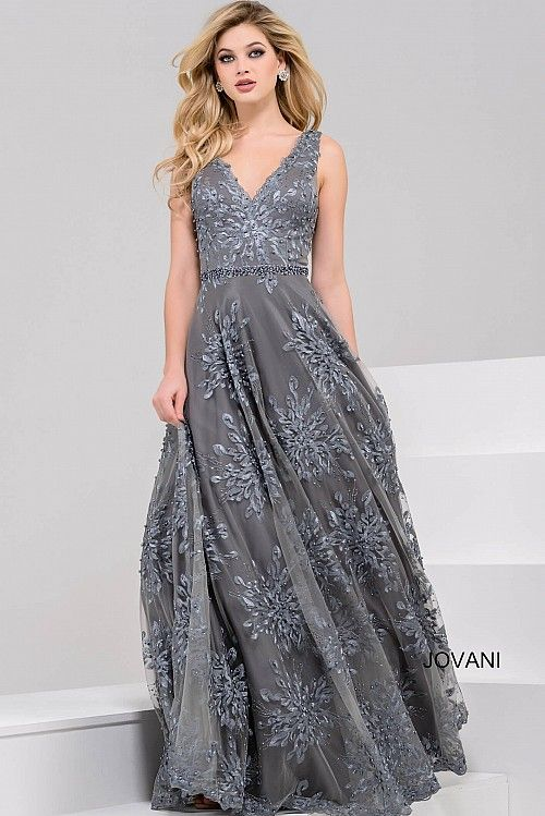 Dark Grey Sleeveless V Neck Evening Dress 47770 Prom Homecoming