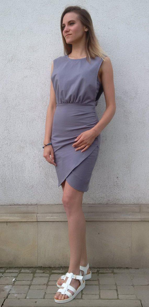 e7877557b755a Gray sleeveless cotton dress for pregnant women and nursing (breastfeeding)  moms.