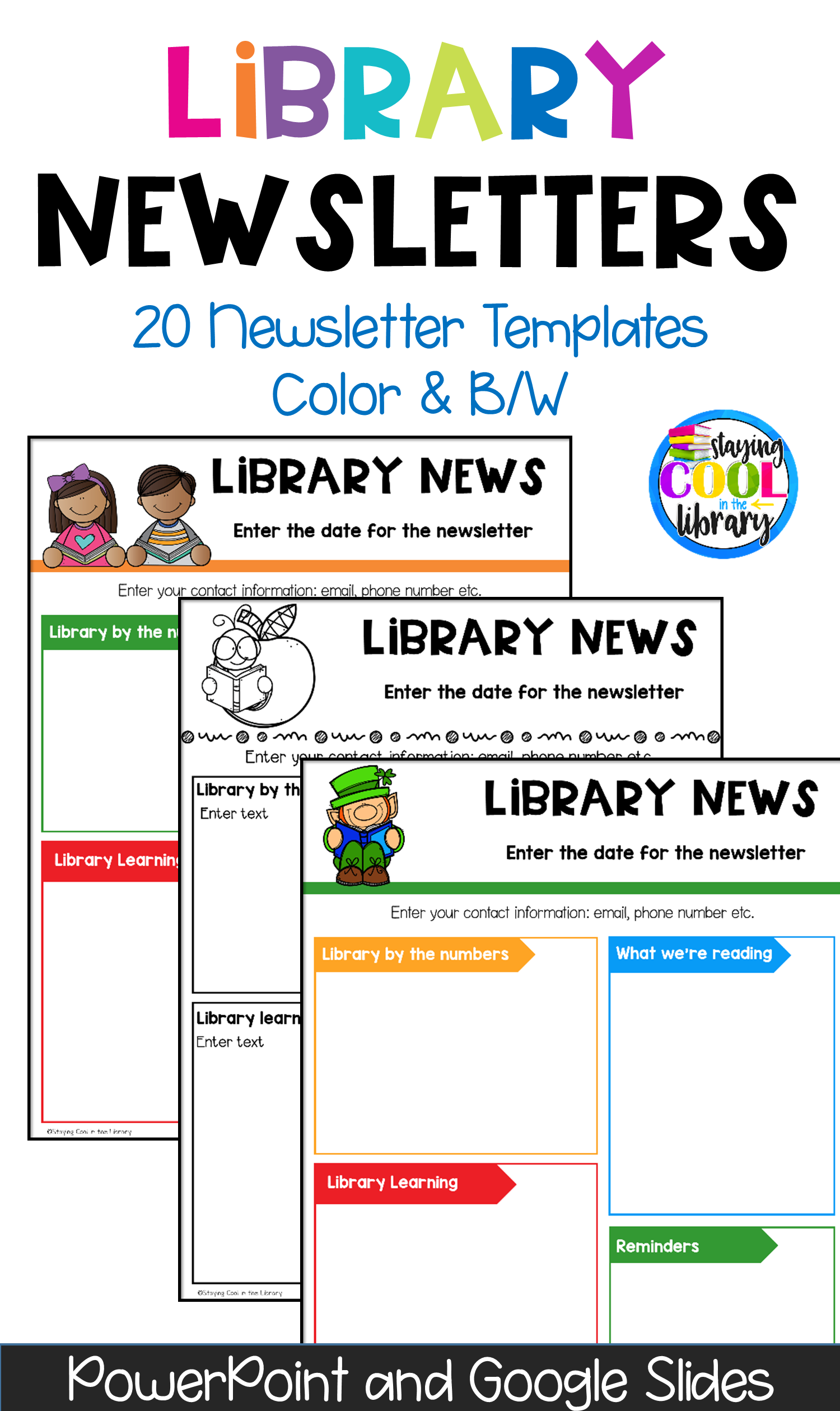 school library newsletter templates editable and digital library