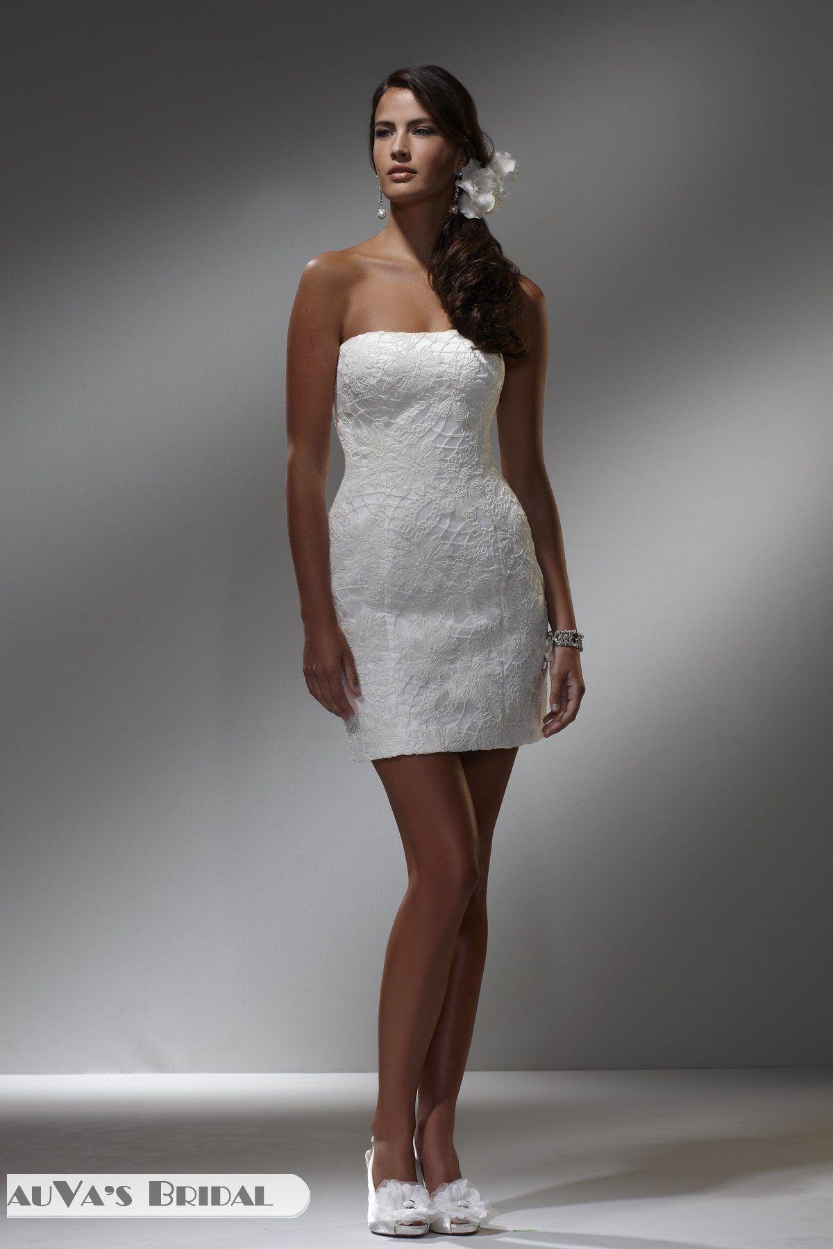 column strapless neckline sleeveless tea length white lace