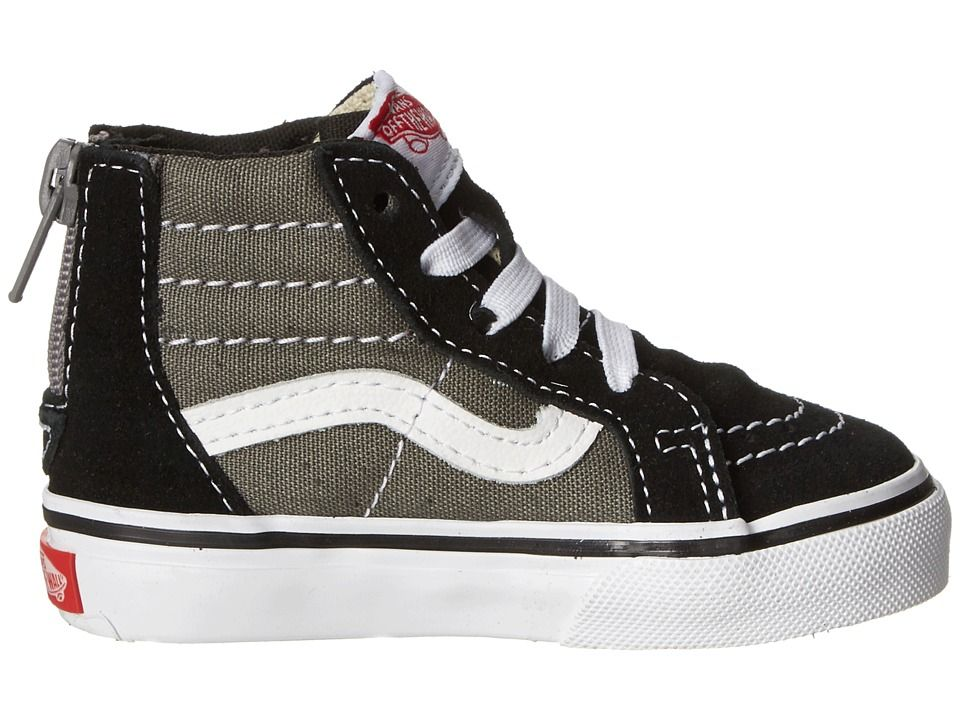 a7d6b8f59f Vans Kids Sk8-Hi Zip (Toddler) Boys Shoes (2 Tone) Black Charcoal in ...