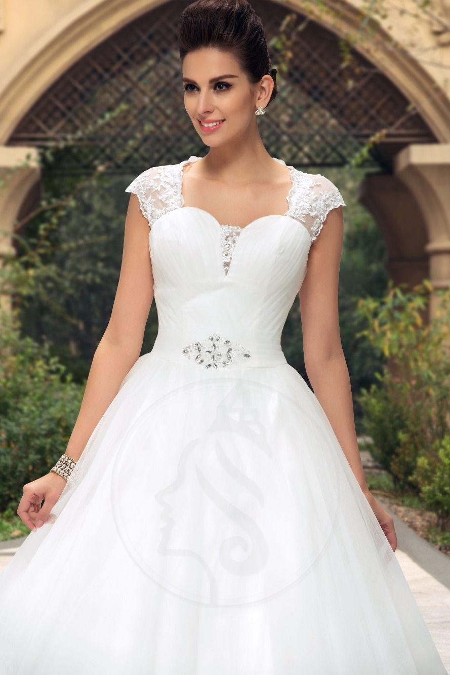 Grande immagine vestido de noiva tule com grânulos até ao chão
