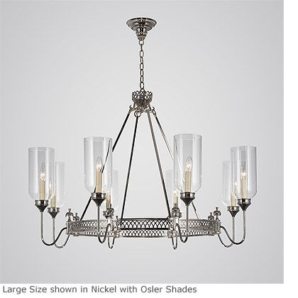 Hanging round frieze chandelier with swan neck arms product hc 304