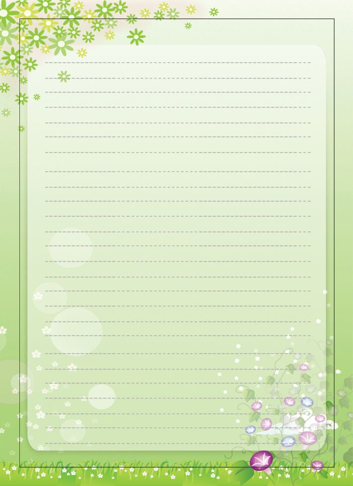 Elegant Spring Season Paper With Borders For Creative Writing