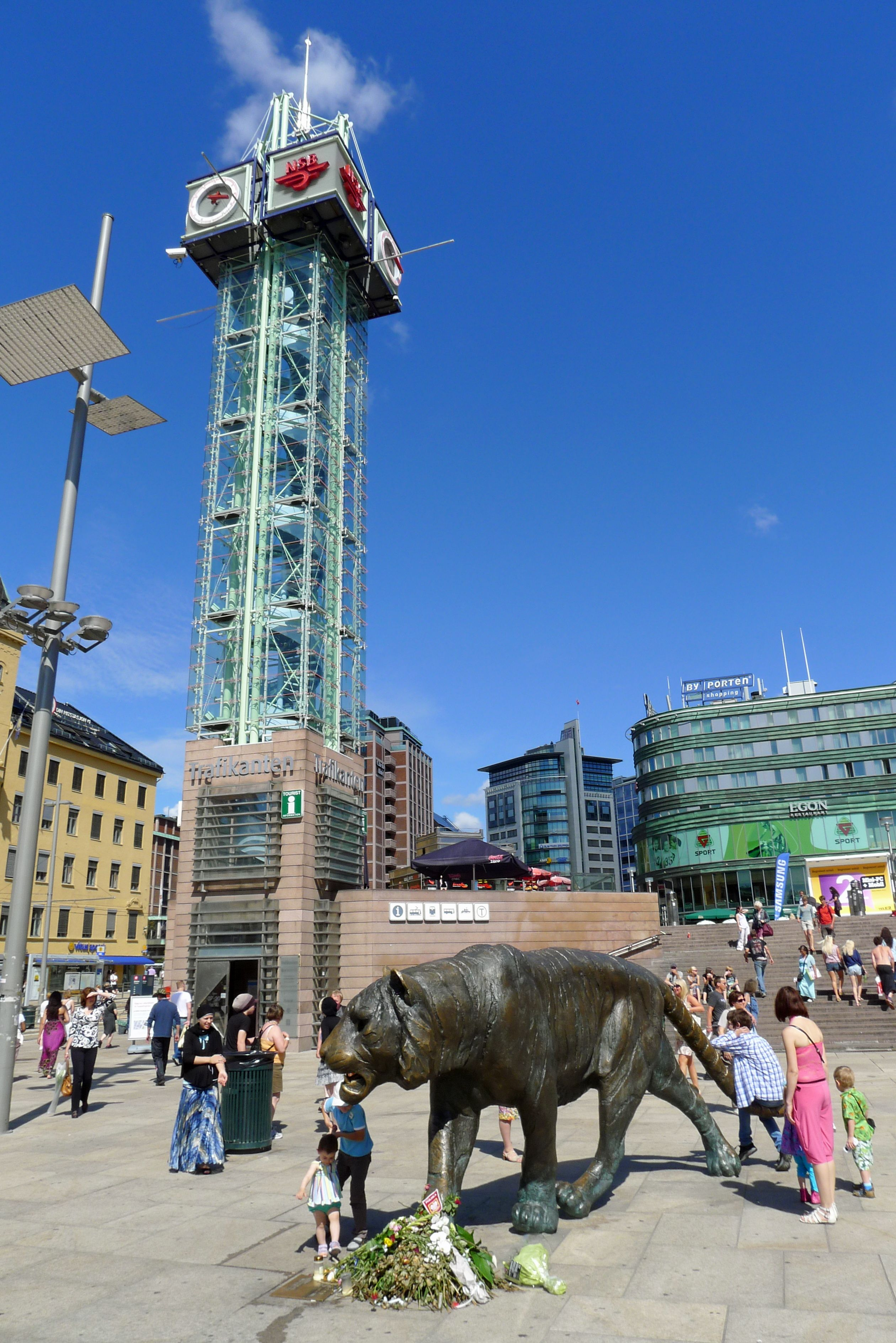 Public Square In Oslo Norway. Oslofjord And