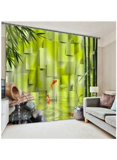 Scenery Curtains 3d green scenery high quality polyester curtain #home decor