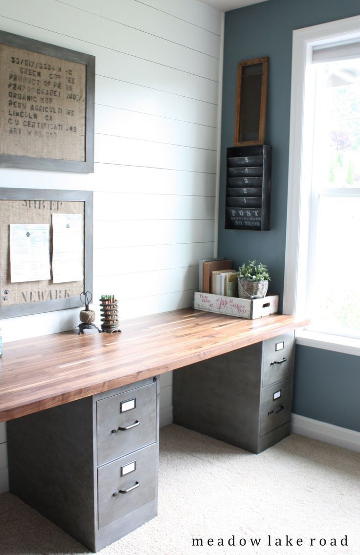 Modern Farmhouse Office Filing Cabinets With Wood Top Easy Diy Desk With Shiplap Walls Ad Diydesk Office Home Office Decor Home Office Design Home Decor