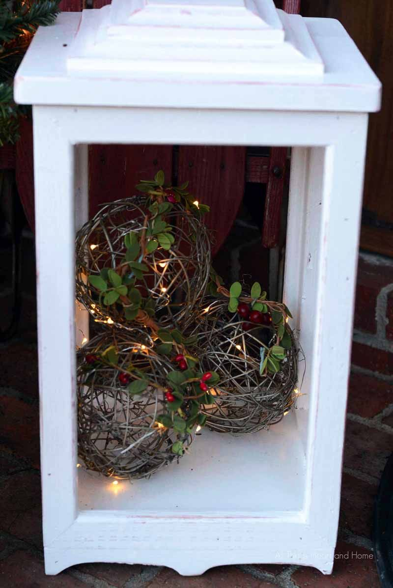 Diy outdoor lanterns decorating with christmas lights