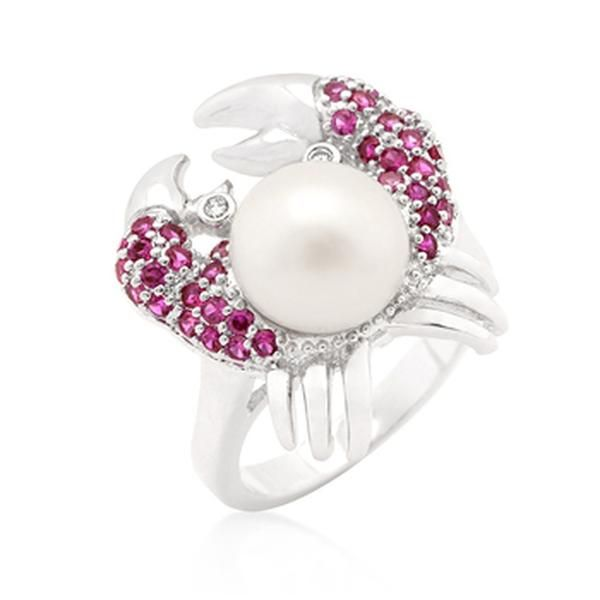 White Gold Rhodium Bonded Crab Ring with Red and Clear Cubic Zirconia and Faux Pearl in Pave Setting in Silvertone. This statement animal ring features a ruby and clear CZ encrusted crab with a faux pearl center stone.