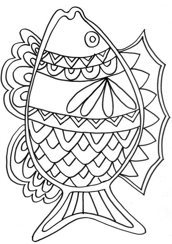 nice Smile Cartoon Fish Coloring Page Sheet | Fish ... |Summer Coloring Sheets Fish