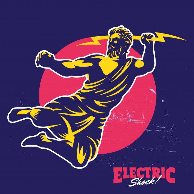 Zeus thunderbolt gods mascot logo template Premium Vector ...