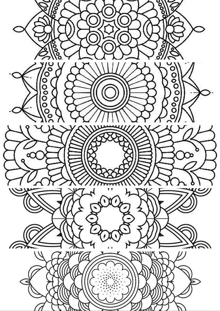 5 BookmarksPrintable Bookmarks Instant Download PDF Mandala Doodling Page Adult