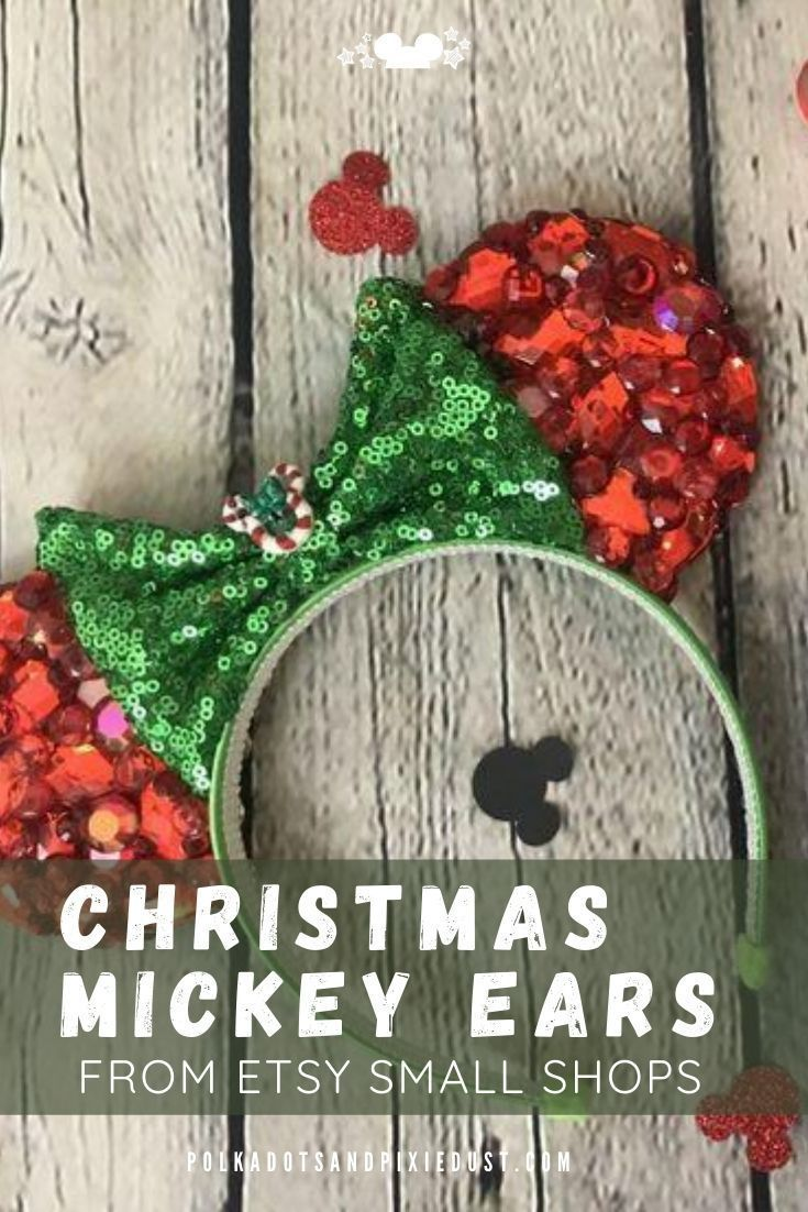 Christmas Mickey Ears from Etsy small shops for the holidays. All the BEST ones we've found so far to help you get a little festive on your next Disney holiday vacation, Christmas party or event! #disneystyle #mickeyears #disneychristmas #polkadotpixies