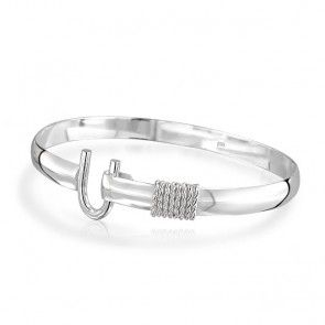 Bling Jewelry Sterling Silver Classic Horseshoe Bangle Bracelet NUFZAHk0