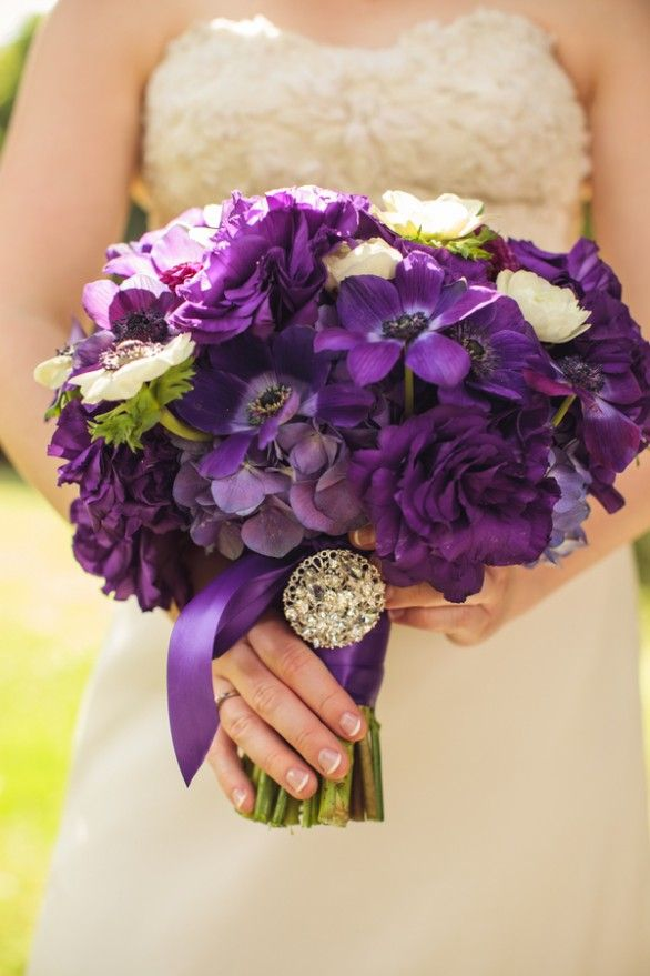Purple #wedding #flower bouquet, bridal bouquet, wedding flowers, add pic source on comment and we will update it. www.myfloweraffair.com can create this beautiful wedding flower look.