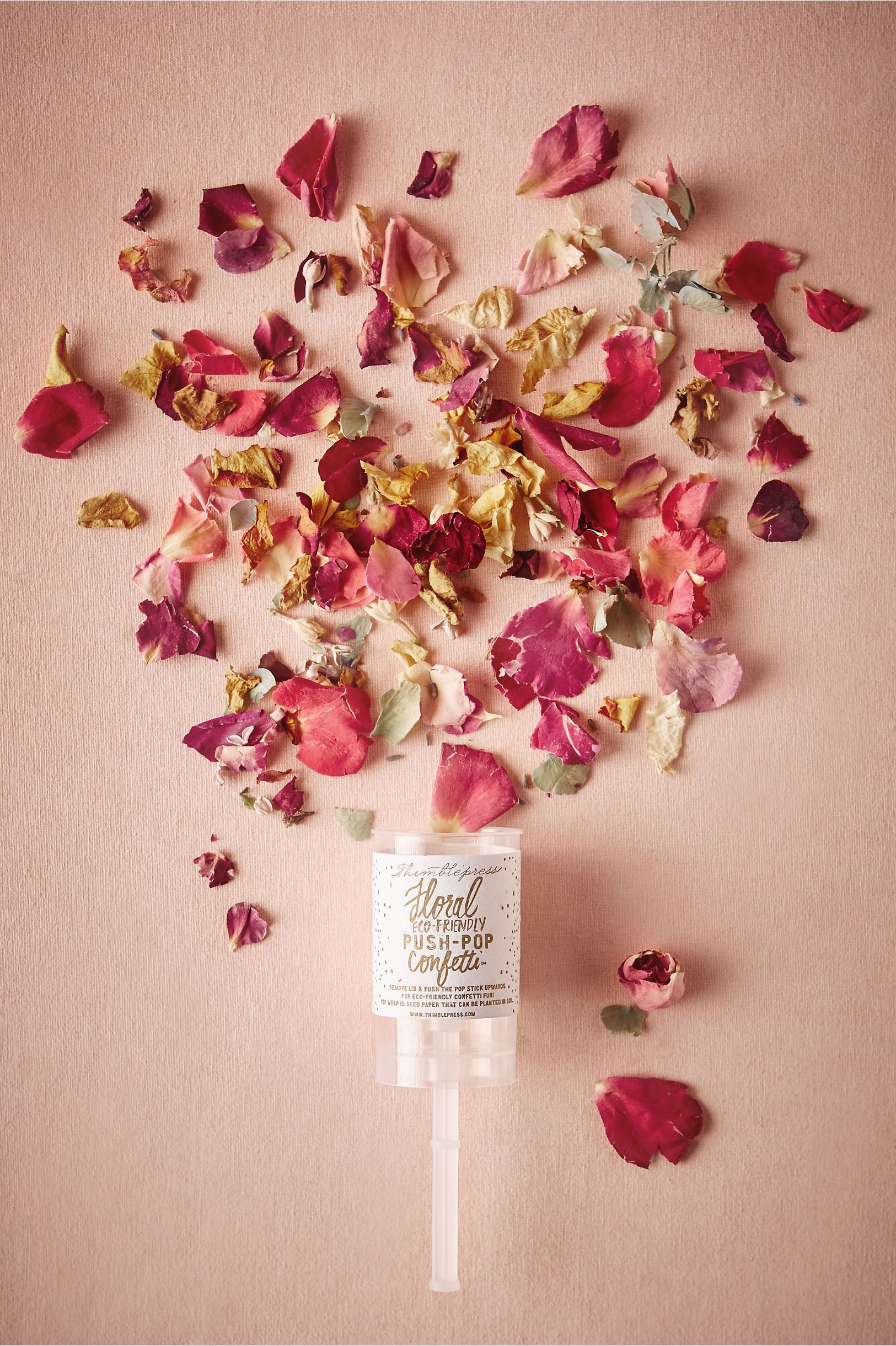Have Your Flower S Toss Dried Rose Petals In The Air With This Handy Popper Petal Push Pop From Bhldn