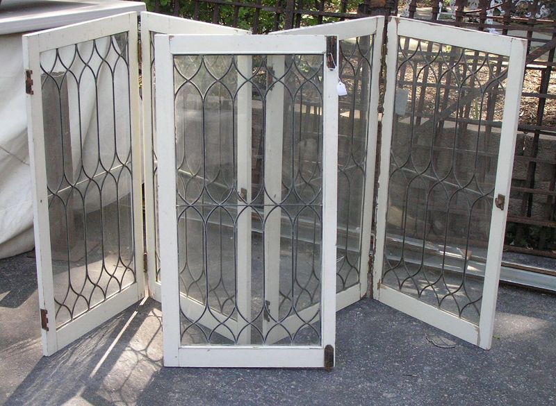 Antique set of 5 leaded glass doors - Click To Close Image, Click And Drag To Move. Use Arrow Keys For