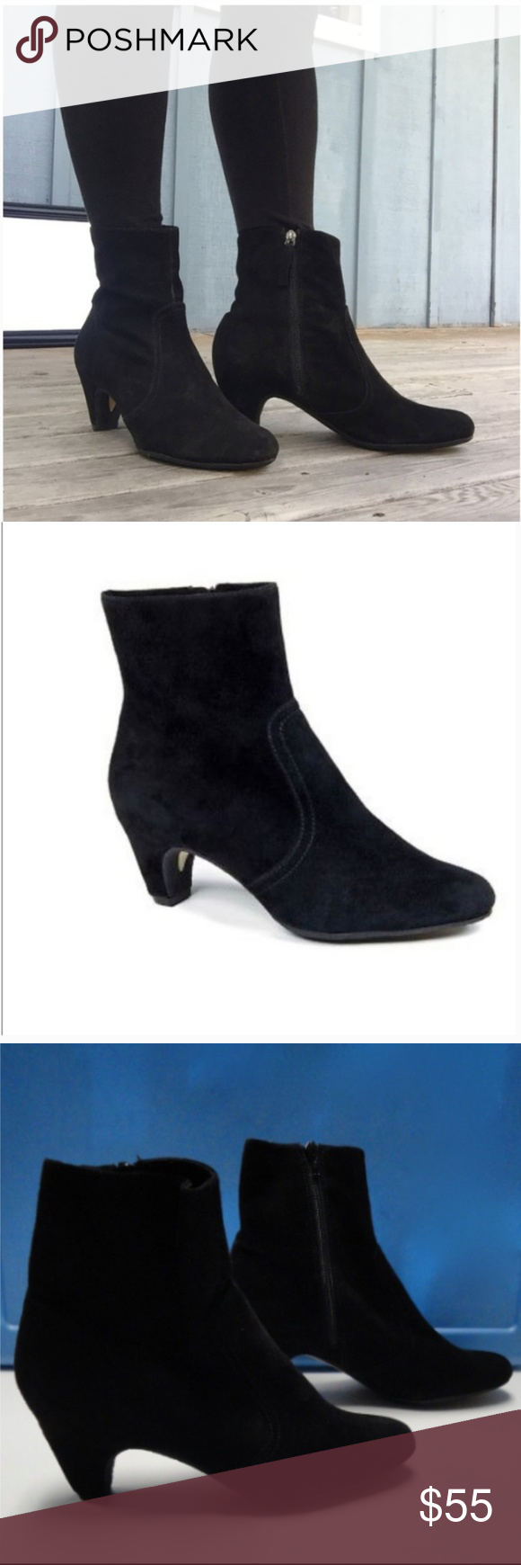427b7cac6fc2 Sam Edelman Maddie Black Suede Ankle Boots Slip into a pair of Sam Edleman Maddie  Booties