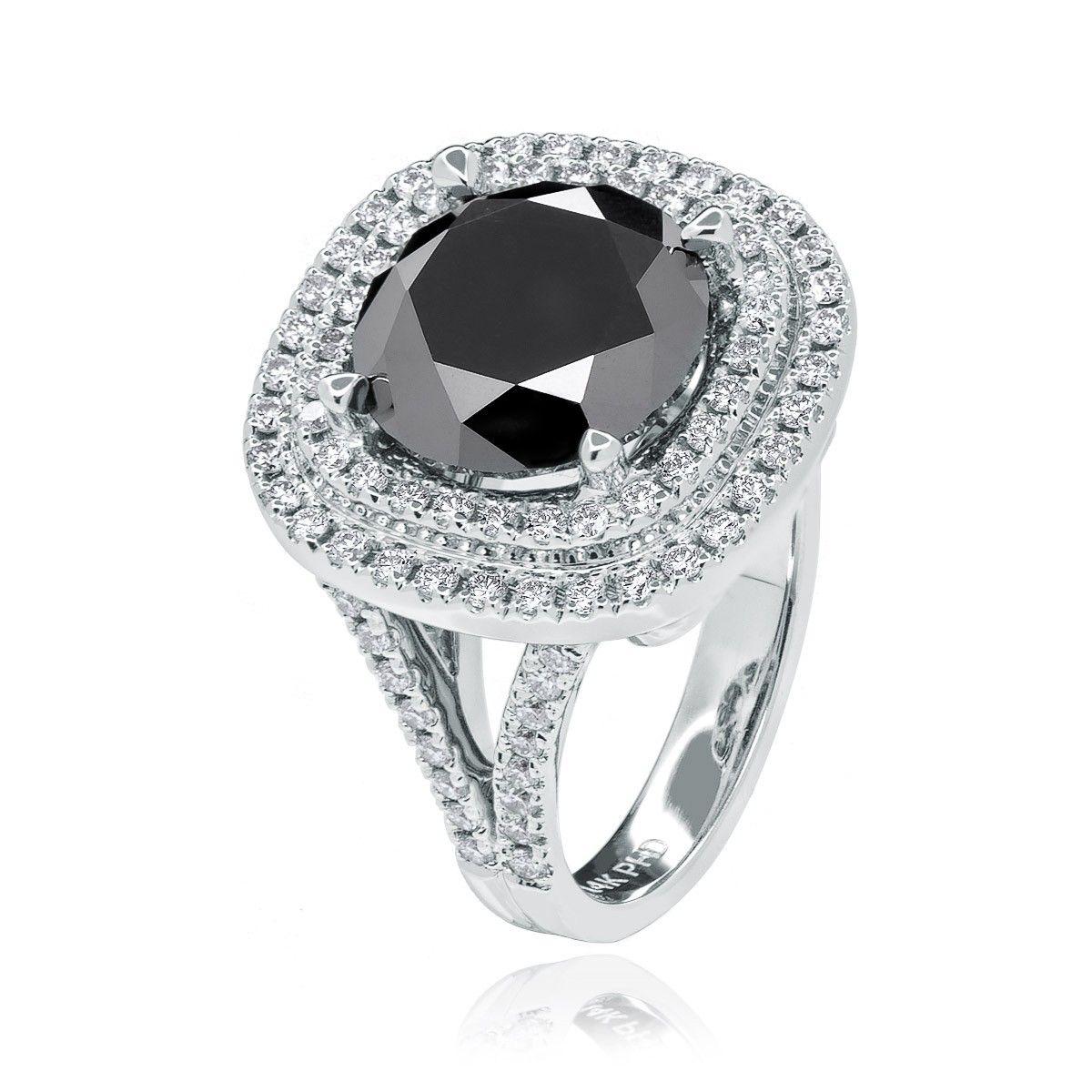 Custom Black Diamond Double Halo Engagement Ring. 4,550