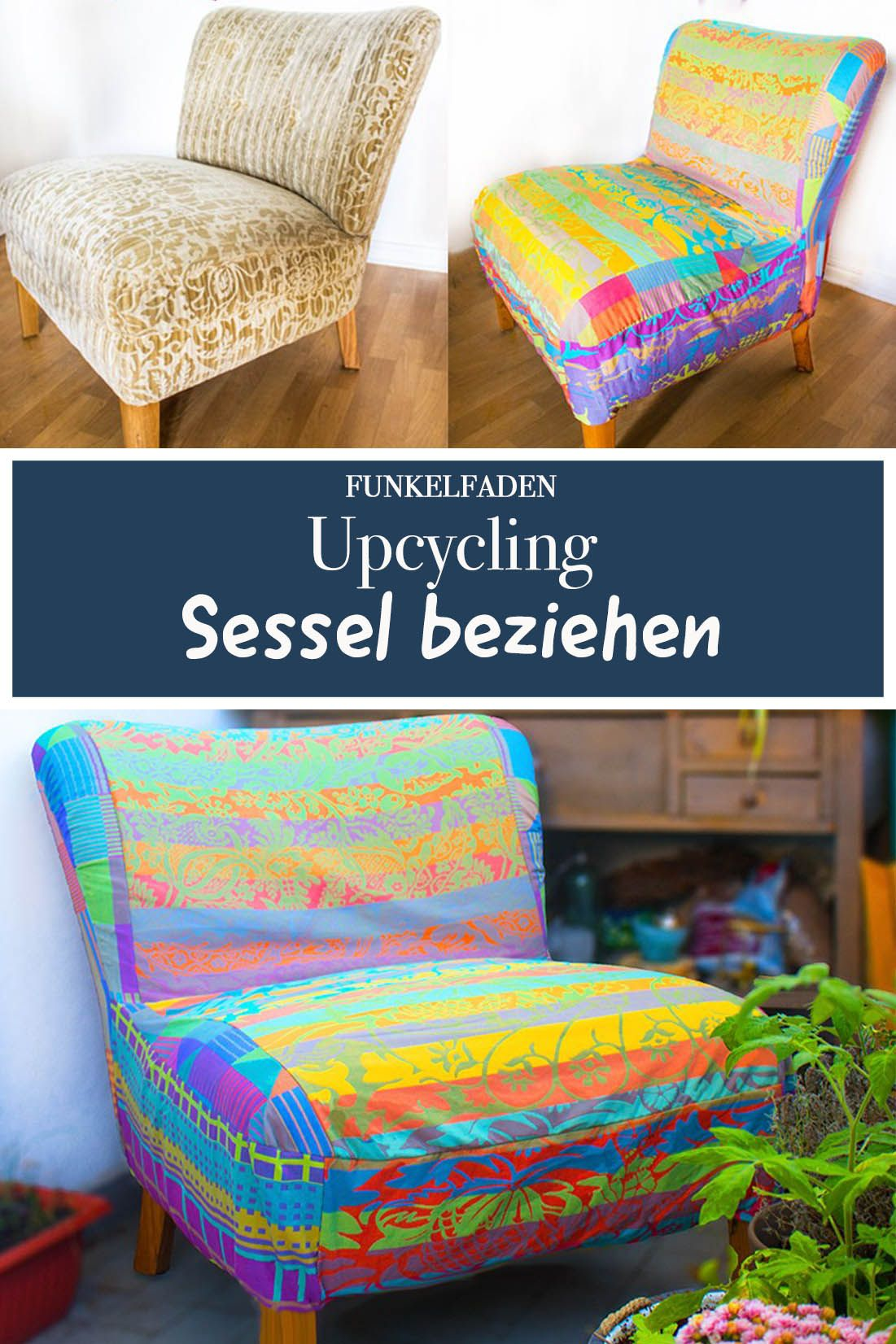 Upcycling Sessel Neu Beziehen Mit Polsterstoff Sessel Neu Beziehen Alter Sessel Karton Basteln