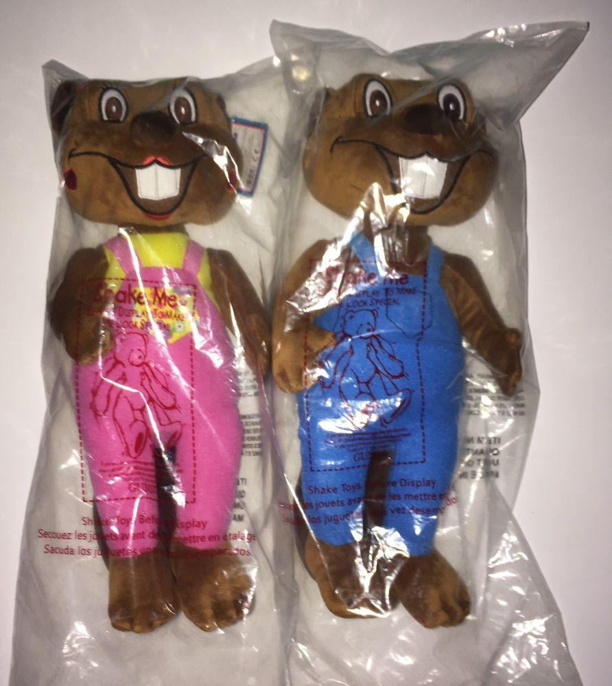 "Gund Busy Beavers Billy AND Betty Beaver Plush Stuffed Animal YouTube 13"" NWT  #GUND"