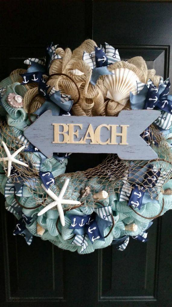 Do It Yourself Home Design: Beach Themed Wreath, Summer Wreath, Seashell Wreath, Home