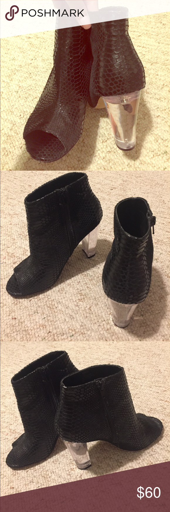 Steve Madden majestic snake booties Clear heel, and peep toe!!!!! Super cute, casual. Wore three times. In good condition :) Steve Madden Shoes Heeled Boots