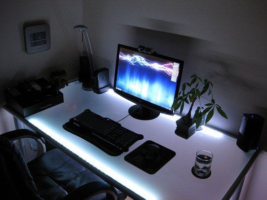 This Ikea Desk Is All About Setting A Mood Lighting Led Strip Lighting Glass Computer Desks Strip Lighting