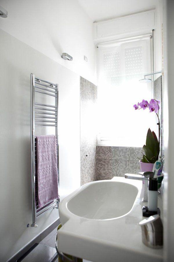 kleines bad gestalten handtuchtrockner blumendeko orchidee Ideer - kleine badezimmer gestalten