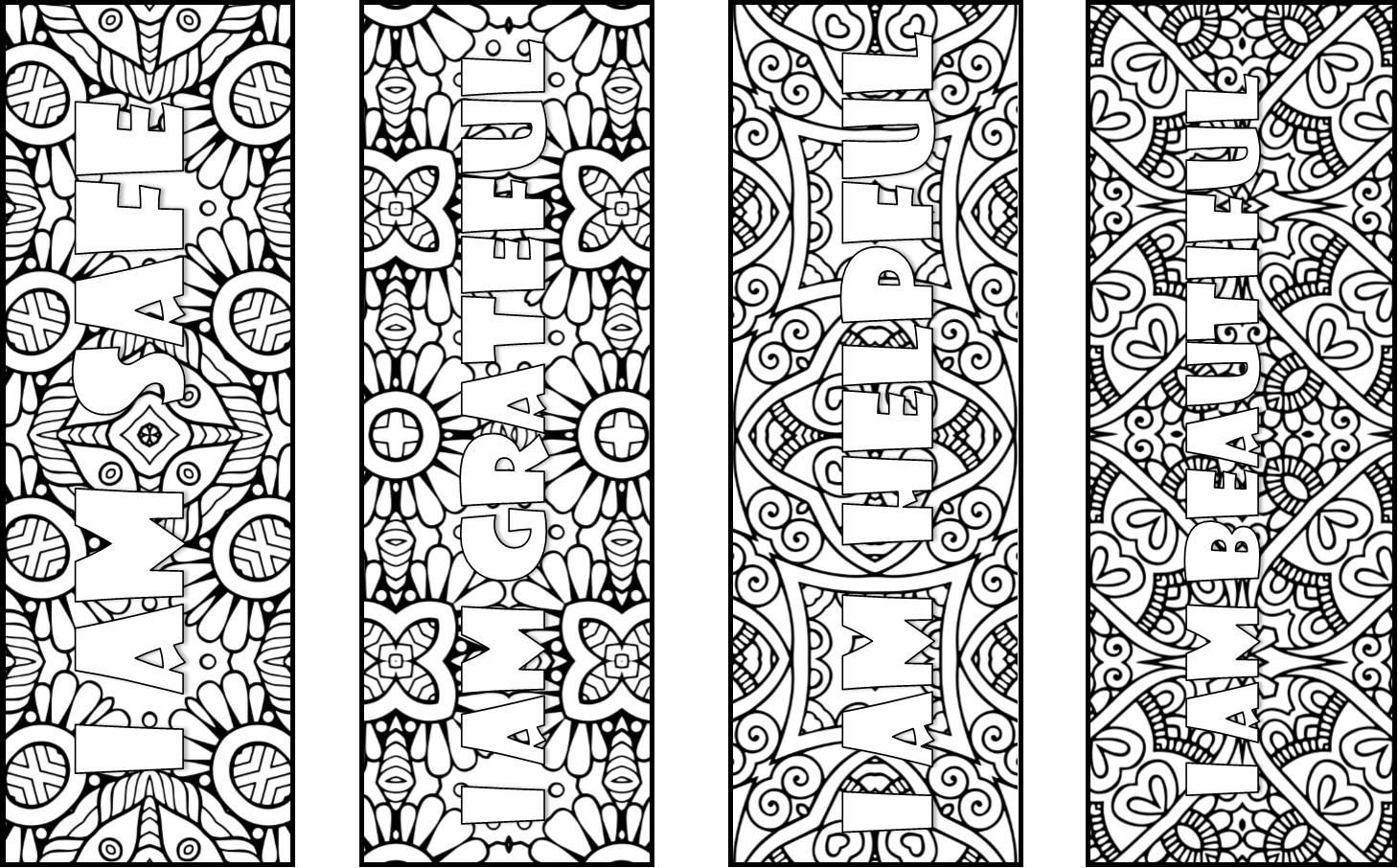 50 Positive Affirmations Coloring Bookmarks
