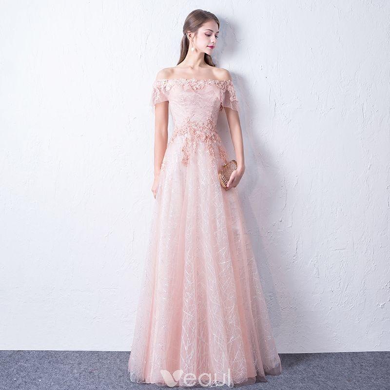 8c585303c4 Bling Bling Rosa Clara Vestidos de noche 2018 A-Line   Princess Fuera Del  Hombro Manga Corta Apliques Con Encaje Glitter Lentejuelas Largos Ruffle  Sin ...