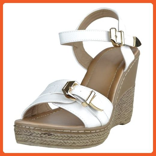 10aa9f1498fb1 Womens Platform Sandals Front Buckle Accent High Wedge Shoes White ...