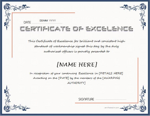 Certificate of Excellence for MS Word DOWNLOAD at   - certificate of excellence template word