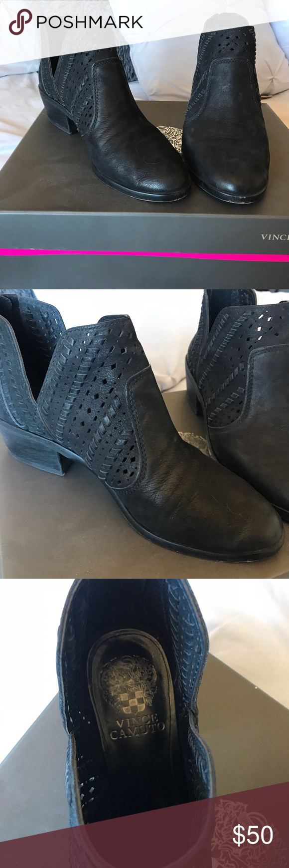 f986f4f6368 Vince Camuto Black Booties, size 7.5 Vince Camuto Prasata black booties. Size  7 1/2. Lightly worn and in excellent condition. Vince Camuto Shoes Ankle  Boots ...