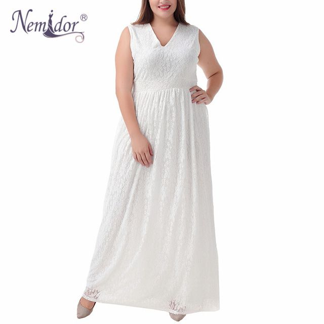 Nemidor 2017 Women Summer Sleeveless V-neck White Full Lace Dress 8XL 9XL  Plus Size 7e91e95246c3