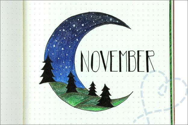 Bullet journal #12: November, thema bos/buiten - Nobody ELSe #novemberbulletjournalcover