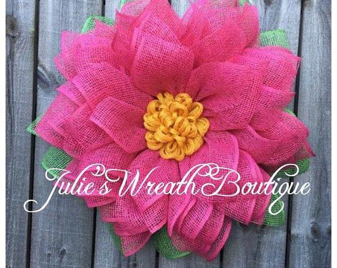 Photo of Burlap Sunflower Wreath, Sunflower Wreath, Summer Wreath, Burlap Wreath, Handmade, Front Door Decor, Front Door Wreath, Mother's Day Gift