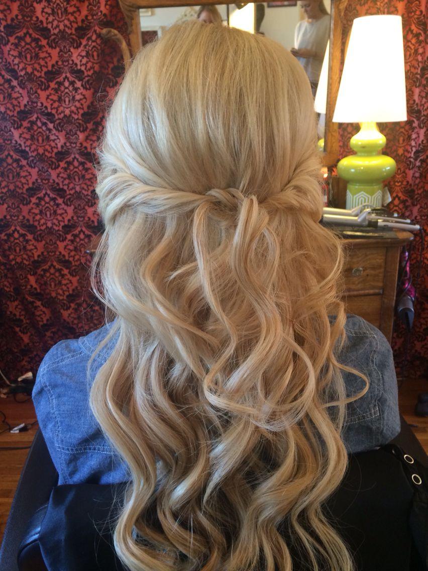 bridal hair by sherri jessee. soft curls half up and half down