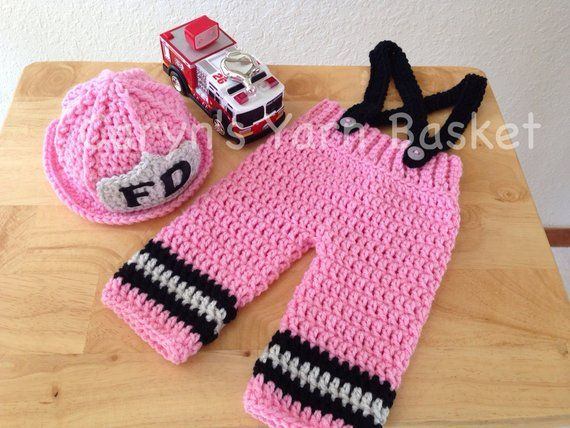 c192a5310 CROCHET PATTERN, 6 Month Size, Baby Girl Firefighter Fireman Hat, Pants,  Suspenders & Boots