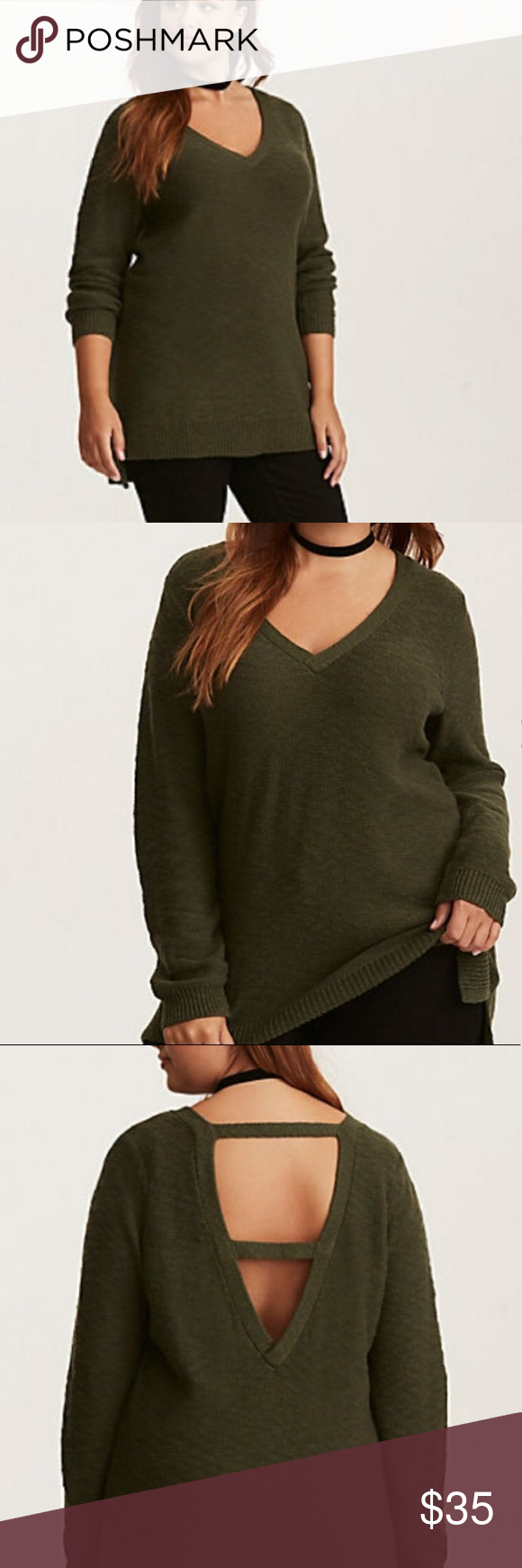 Dark Green Plus Size Back Strap Tunic Sweater | Light wash jeans ...