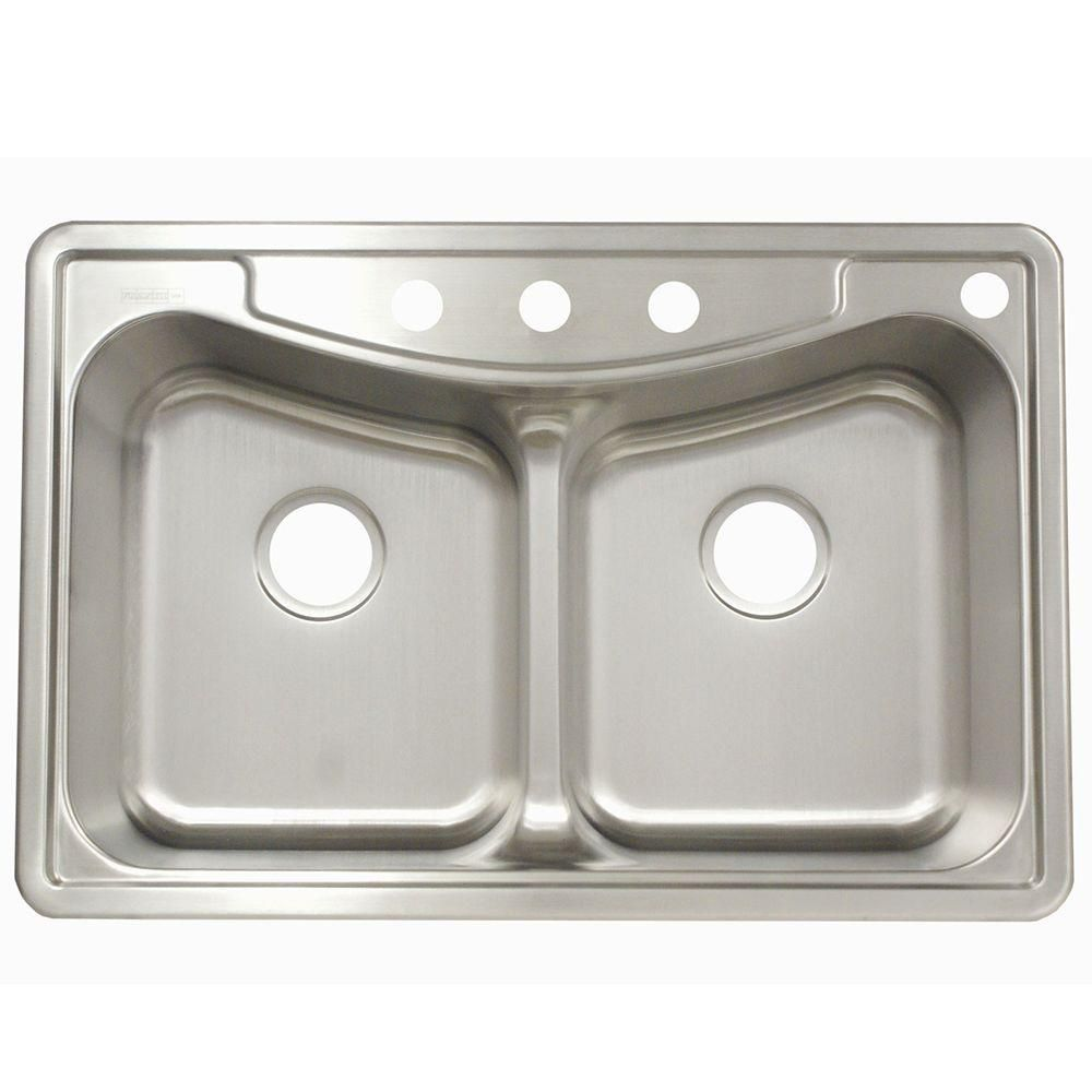 Franke Drop In Stainless Steel 33 In 4 Hole Double Bowl Kitchen