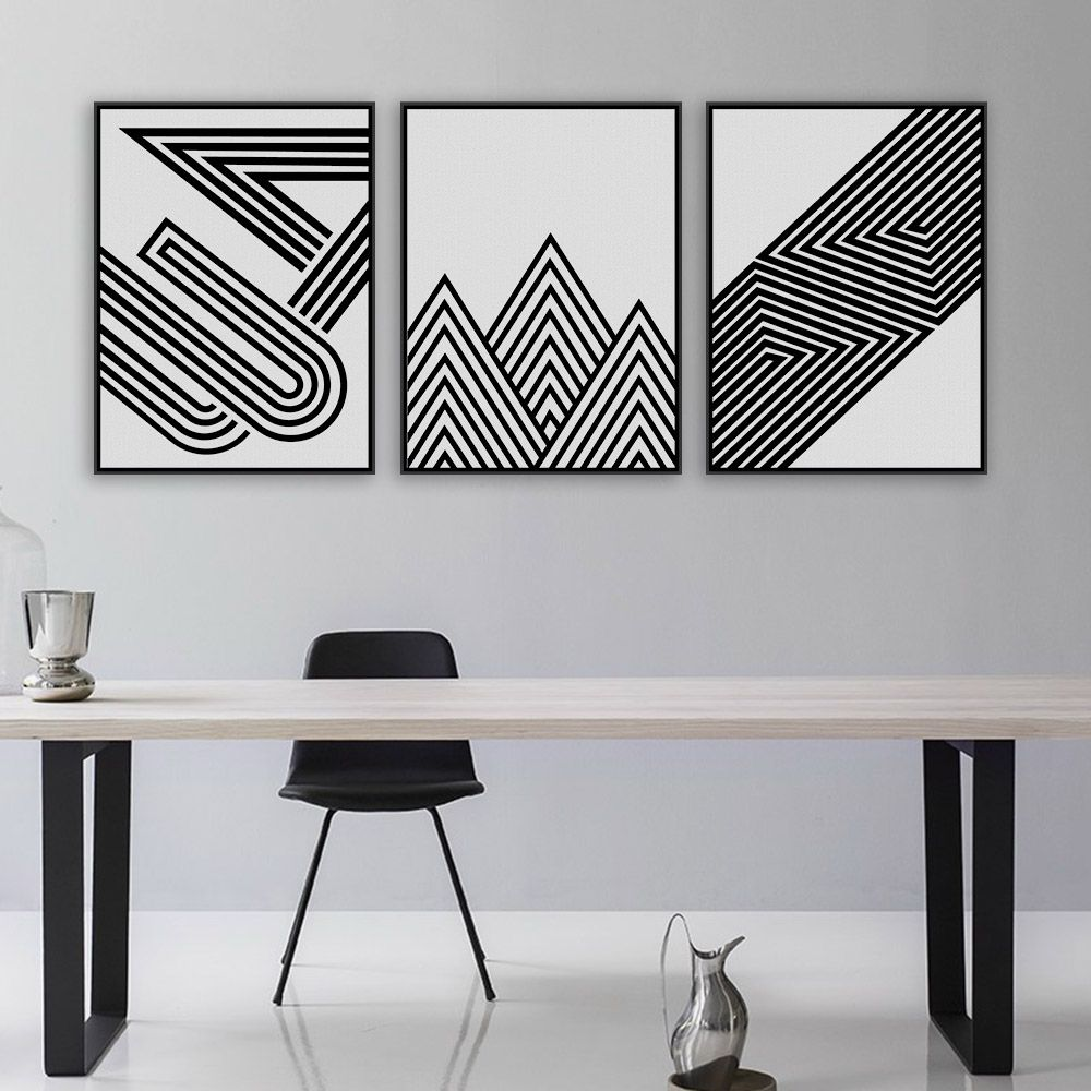 Black White Modern Minimalist Geometric Shape Art Prints Poster Abstract Wall Picture Canvas Painting Living Room Home Decor