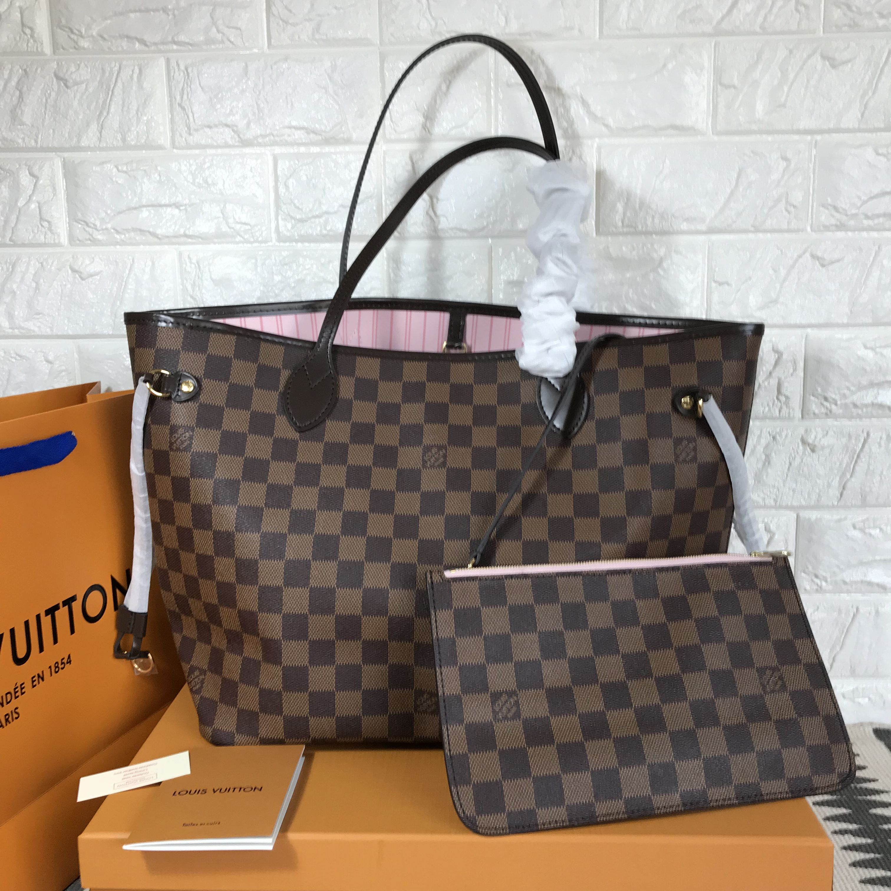 858aa15bd2 Louis Vuitton lv neverfull shopping tote bag Damier ebene with pink  interior original leather version